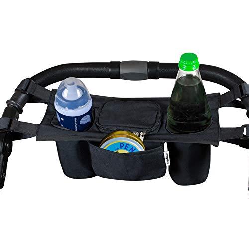 Bergsteiger Kinderwagen Organizer Basic, großes Mittelfach, zwei Getränkehalter, geringes Gewicht und einfache Handhabung, für alle Kinderwagen, Bergsteiger Kinderwagen-Zubehör