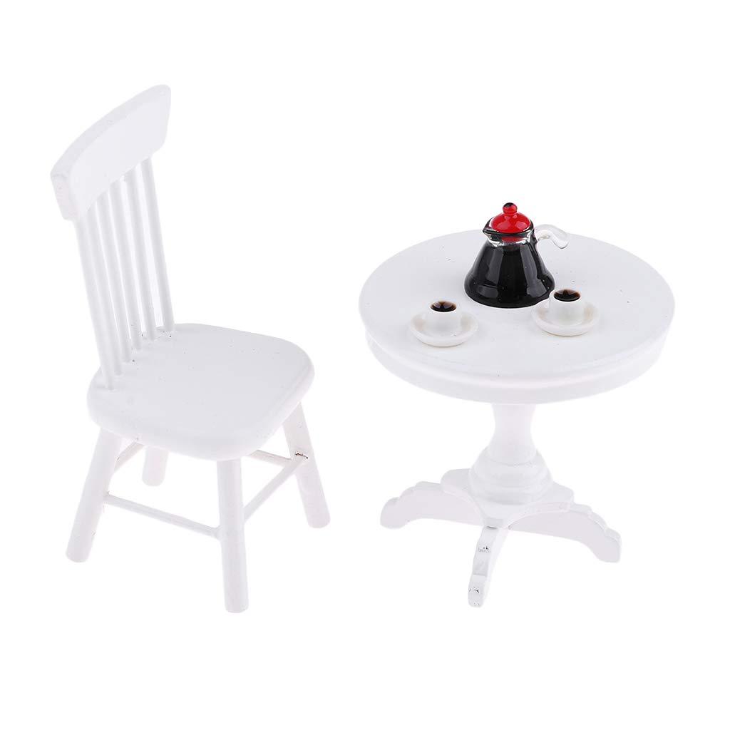 Amazon.es: Sharplace Juguete de Mesa Redonda de Madera y Silla con Repalda Cafetera y Tazas de Café Accesorios de Jardín para 1/12 Casa de Muñecas: Juguetes y juegos
