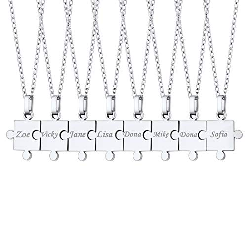 U7 BFF Necklace for 8 Friend Stainless Steel Rolo Chain Custom Engrave Name Text Puzzle Pieces Pendant Necklaces Set for 8 Best Friend/Sister/Daughter Son/Family Relationship Jewelry for Boys Girls