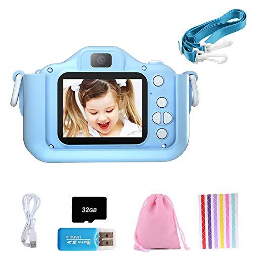 Set de Cámara de Fotos Digital para Niños con Juegos, Cámara Infantil con Tarjeta de Memoria Micro SD 32GB, Cámara Digital Video Cámara Infantil para Niños Regalos deCumpleaños, 1080P (Azul - Gato)