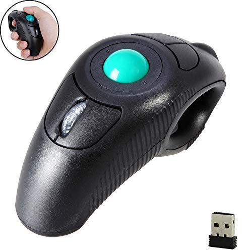 EIGIIS 2.4G Ergonomic Trackball Handheld Finger USB Mouse Wireless Optical Travel DPI Mice for PC Laptop Mac Left and Right Handed