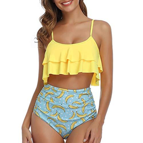 ZODOF Bikini Mujer Talla Grande con Estampado de Cintura Alta Traje de Baño Dos Piezas Corbata Cruzada Bikinis Trikini Biquini Vikinis Ropa de Verano Bañadores Playa