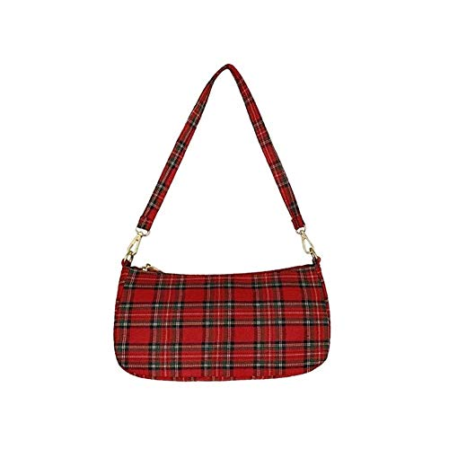 Retro Plaid-Handtasche Damen Handtasche Kleine Handtasche Bolsa Index (Color : Red, Size : M)