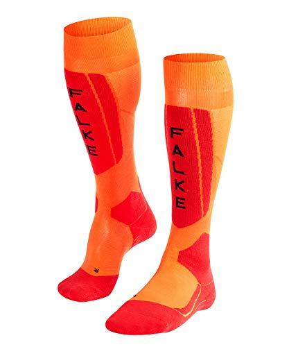 Falke Calcetines de esquí SK5 para hombre, calcetines de esquí con seda, térmicos, para esquiar, 1 par, Hombre, Calcetines de esquí, 16563, Orange (Flash Orange 8034), 44 - 45