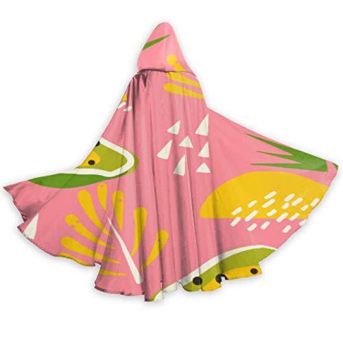 AQQA Disfraz de Papaya de Fruta de Verano Amarillo Dulce, Capa con Capucha, Capa de 59 Pulgadas para Navidad, Disfraces de Cosplay de Halloween