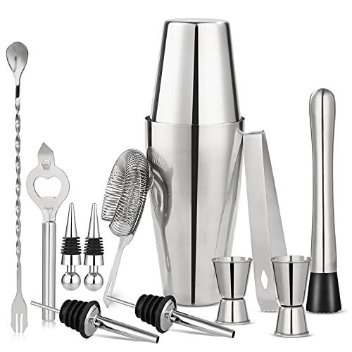 Set da cocktail, shaker in acciaio inox, set da 12 pezzi, regalo per cocktail, shaker da 750 ml, per cocktail e cocktail, set regalo professionale per la casa o il bar