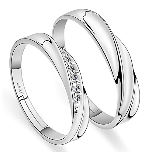 LINYIN 2pcs Open Unisex Ring Set With Diamonds To Share Love With Couples Live Pair Ring Silver-Plated Simple