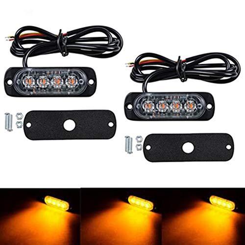 2pcs 4 LEDs Feux de Pénétration Camion Lumière Stroboscopique 12W à 19 Modes IPX4 pour Voiture Camion véhicule SUV DC 12-24V (Jaune)