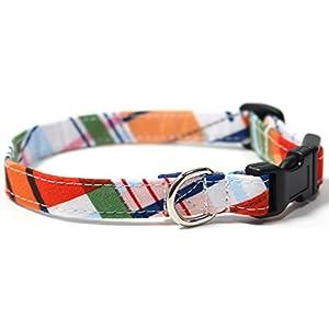 Ruff Roxy Gone Coastal Plaid, Summer Shirt Pattern Designer Dog Collar, Adjustable Handmade Fabric Collars