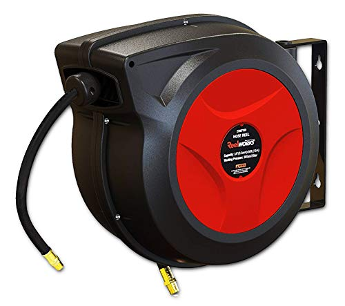 REELWORKS Air Hose Reel Retractable Spring Driven Polypropylene Heavy Duty Industrial 3/8' x 50 FT...