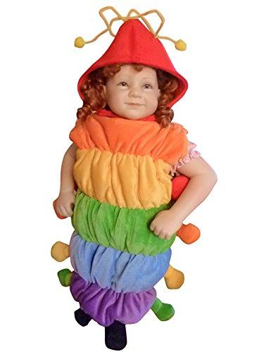 F83 Taglia 1-2A (86-92cm) Costume da Bruco per bambini e neonati, indossabile comodamente sui vestiti normali