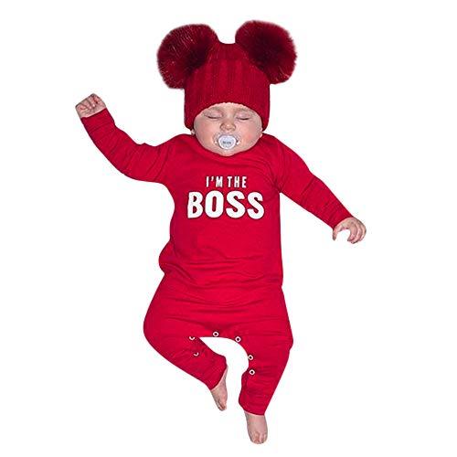Longra Babykleidung Unisex Baby Strampler-Set mit I'm The Boss Aufdruck Herbst Winter Overall Romper Jumpsuits Langarm Pullover Sweatshirt Baby Schlafanzuge Schlafstrampler (70CM 6 Monate, rot)
