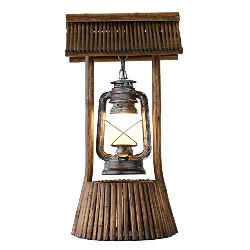 Bureaulamp handgemaakt van bamboe landhuis tafellamp antieke kerosine lamp lampenkap van melkglas woonkamer slaapkamer bar E27 decoratieve lamp