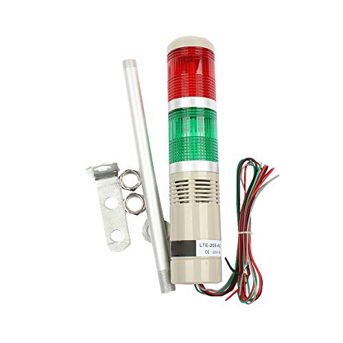 No Buzzer WerFamily Industrial AC 110V Red 20 LED Warning Light Signal Tower Lamp with Base