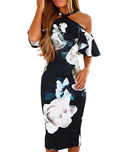 YOINS Damen Sommerkleid Schulterfrei Blumenmuster Enges Kleid Partykleid Strandkleid Blumenkleid Knielang Schwarz EU32-34