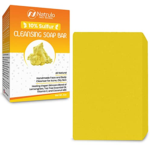 10% Sulfur Soap Cleansing Bar for Face & Body – All Natural Facial Cleanser for Acne, Oily Skin...