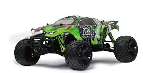 Jamara Veloce Monstertruck 1:10 4WD Lipo 2,4G LED - Allrad, Elektroantrieb, Akku, 40Kmh, Aluchassis, spritzwasserfest, Öldruckstoßdämpfer, Kugellager, Fahrwerk einstellbar, fahrfertig