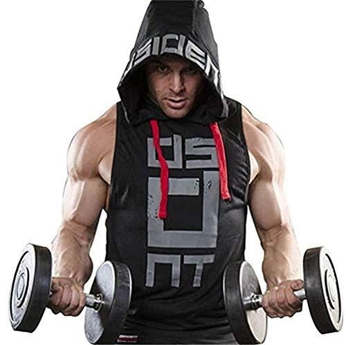 COWBI Bodybuilding Felpa per Palestra Canottiera con Cappuccio Uomo Canotta