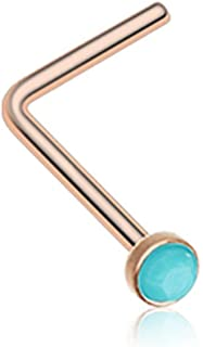 Turquoise Stone L-Shaped 316L Surgical Steel Nose Stud Ring (Sold Individually)