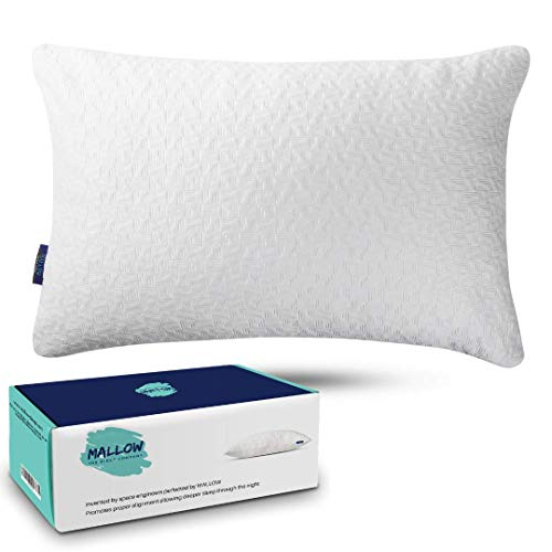 Mallow Shredded Memory Foam Pillow | Adjustable Soft OR Firm Pillows For Neck Pain Relief | Hypoallergenic Washable Bamboo Pillow Cover | Cooling Pillow | Best pillow for Side Sleepers Back or Stomach