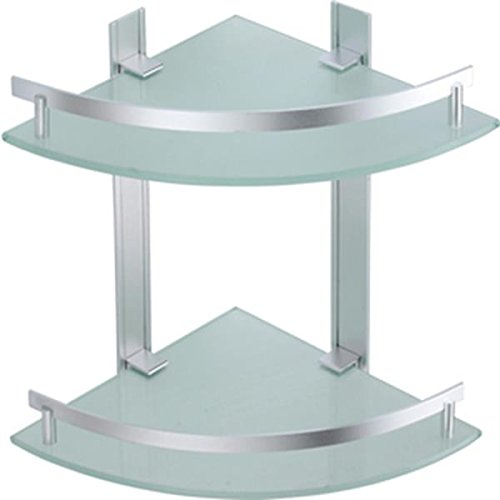 MSV Estante DE Rincon 2 Niveles DE Aluminio Y Vidrio TABARCA, Cromado, 25x25x5 cm