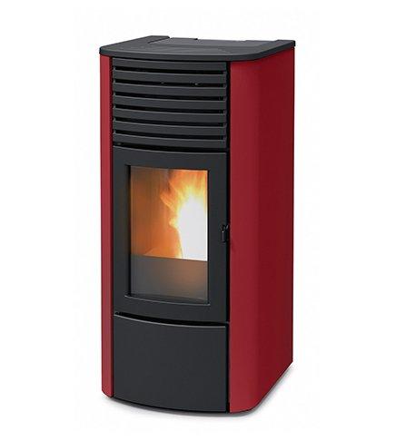 termoestufa A pellets MCZ Clio Hydro 23de 22,80KW, Ventilación frontal, Burdeos