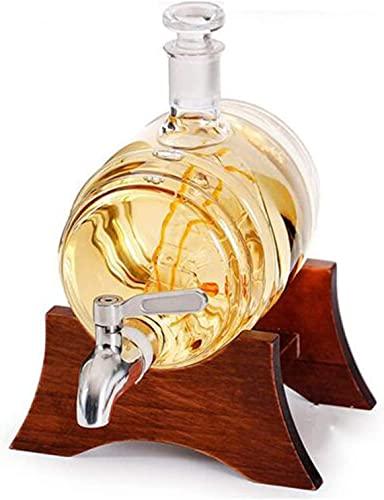 ZYLZL Jarra de whisky de barware, jarra de vino blanco de 1000 ml con 2 copas de vino y grifo de acero inoxidable,Transparente,1000 ml