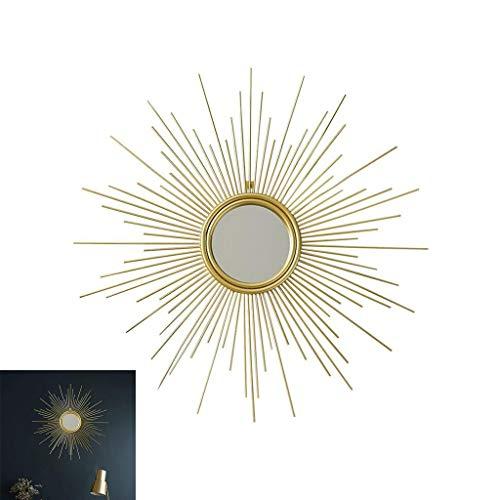 YXB Art Deco Ronde afgeschuinde rand goud zonsopgang spiegel muur spiegel 60 cm zon ontwerp J4/12