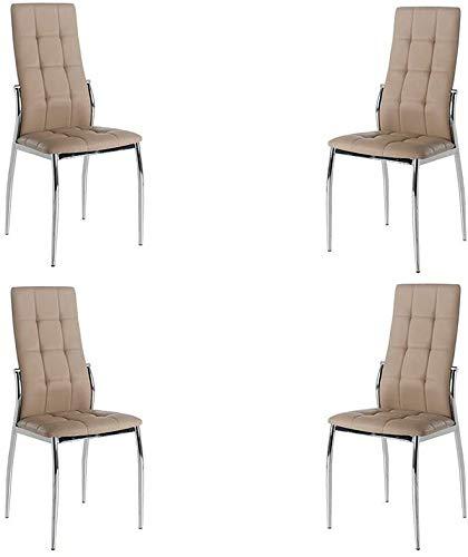 MOMMA HOME Set de 4 Sillas - Modelo Cami - Color Capuccino/Plata - Material Ecopiel/Metal Cromado -