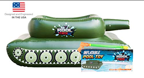 Pool Punisher Inflatable Toy Tank with Squirt Gun- Swimming Accessories for Kids, Teens and Adults - Giant Size Outdoor Water Toys for Lakes and Beach - Swim Stuff for Summer
