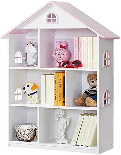 YFDZONE Dollhouse Bookcase Wooden Children Bookshelf Kid Book Display Unit Child Book Rack with Toy Storage Organizer for Bedroom Playroom Living Room(Pink)