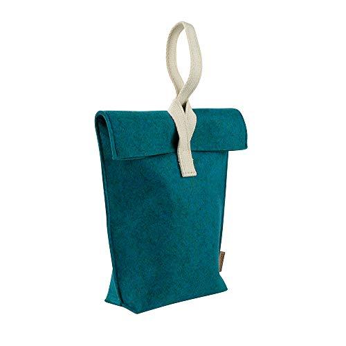 BIOZOYG Lunchbox Yummy Plus PET Größe L - umweltfreundliche Lunchtasche aus PET Recycling Filz 23 x 33 cm Petrol