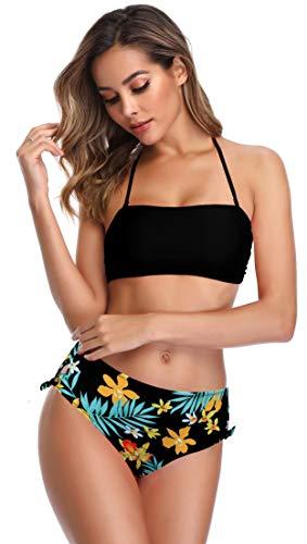 SHEKINI Damen Neckholder Bikinis High Waist Bauchweg Hose Schwarz Bandeau Blumenmuster Süß Schleifen auf Seiten Bikini Set (X-Large, Blumendruck-Schwarz)