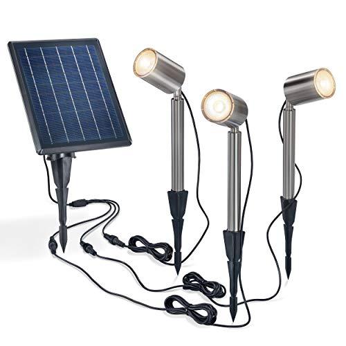 Solar Premium Strahler PowerTrio - extragroßes 5 W Solarmodul - Lichtfarbe warmweiß 2800K + kaltweiß 6000K umschaltbar - 3 Strahler je 50 lm (150 lm gesamt) - Solarleuchte Spot Garten esotec 102705