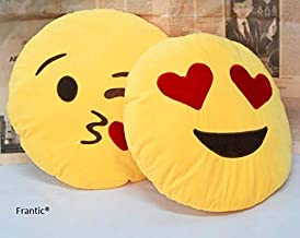 Frantic Plush Heart Eyes and Flying Kiss Soft Smiley Cushion (Yellow, 35 cm) -Set of 2