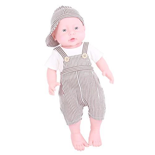 KESOTO 41 cm Weiche Vinyl Weichkörper Babypuppe Neugeborene Funktions-Baby-Puppe Spielzeug - Junge, Weiße Haut