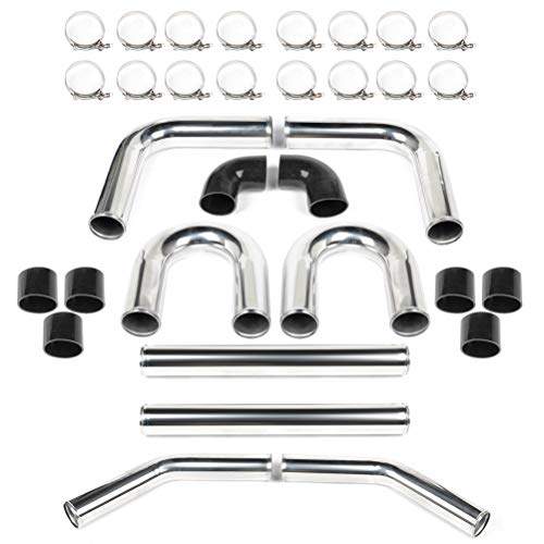ECCPP 3' 76mm Universal 8pcs Intercooler Turbo Pipe Piping Silicone Hose T-Clamp Kit,Clamp-on