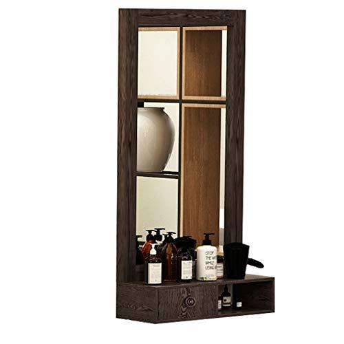 espejo de peluquería Tocador Retro de Madera Maciza montado en la Pared Adecuado para peluquería peluquería Sala de Estar del Hotel, etc.