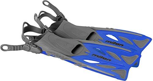 Miton verstellbare Kinder Junior Flossen blau Schwimmflossen Flipper blau Größe 32 33 34 35 36 37 individuell einstellbar mit Anti Rutsch Noppen & beidseitgen Schnallen