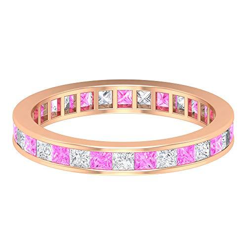 Rosec Jewels 10 quilates oro rosa talla princesa princess-shape H-I Pink Diamond Laboratorio de zafiro