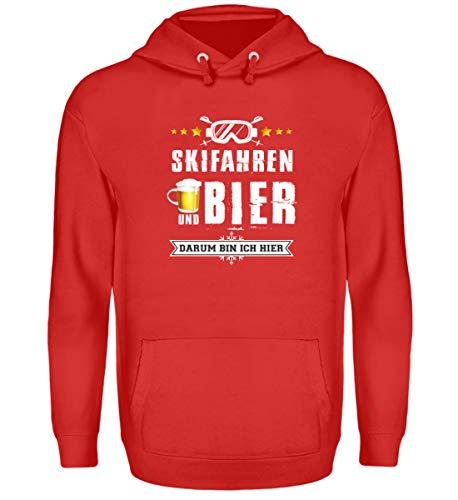 Skifahrer T-Shirt Hoodie Ski & Bier für Winterurlaub - Unisex Kapuzenpullover Hoodie -XXL-Feuerrot