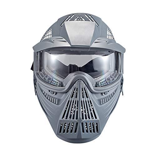 Paintball Maske mit Schutzbrille Schutzmaske Taktische Full Face fur Airsoft Softair Halloween CS Partyspiel Grau & Klar Linsen
