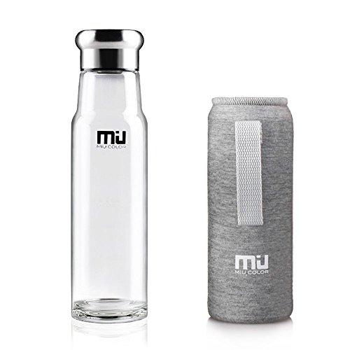 MIU COLOR 550ml Glasflasche Trinkflasche aus Glas, BPA-frei Wasserflasche mit Nylon Tasche für Auto (Grau)