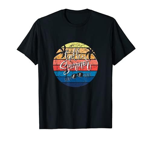 Hello Summer Design Outfit Gift Summer Beach Holiday Fun Camiseta