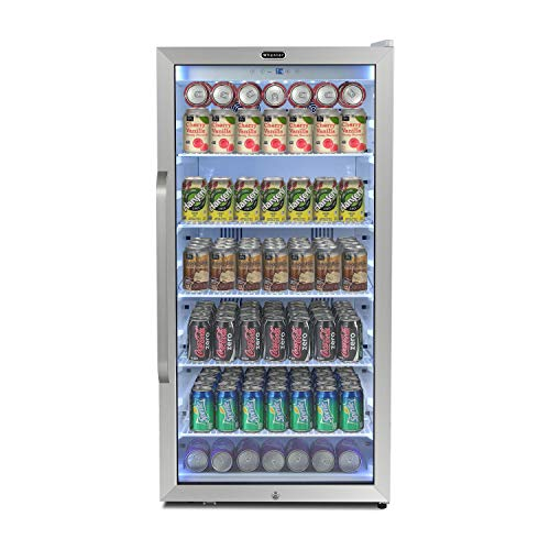Whynter CBM-815WS Freestanding 8.1 cu. ft. Stainless Steel Merchandiser Superlit Door and Lock – White Commercial Beverage Refrigerator