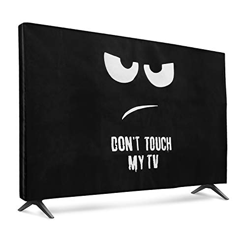 "kwmobile Funda para Monitor 43"" TV - Cubierta Protectora No toques mi TV en Blanco/Negro"