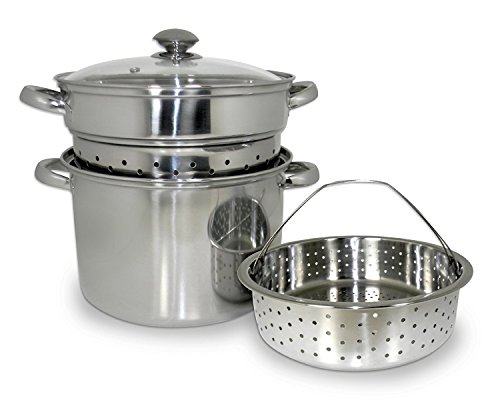 ExcelSteel 16 Qt Multifunction Stainless Steel Pasta Cooker with Encapsulated Base, Vented Glass Lid, and Riveted Handles
