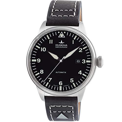 DUGENA Kappa 7000310 Airtrip - Reloj de pulsera automático para hombre (esfera negra, caja de acero inoxidable, cristal de zafiro, correa de piel, hebilla, 5 bares)