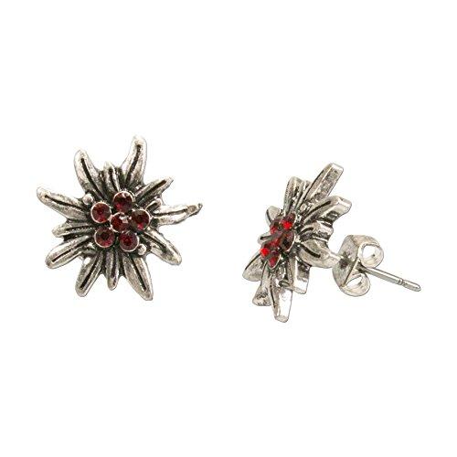 Alpenflüstern Trachten-Ohrstecker Strass-Edelweiß mini - Damen-Trachtenschmuck, Trachten-Ohrringe antik-silber-farben mit Strass-Steinen rot DOR033