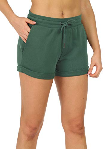 icyzone Workout Lounge Shorts for Women - Athletic Running Jogging Cotton Sweat Shorts (L, Fir)
